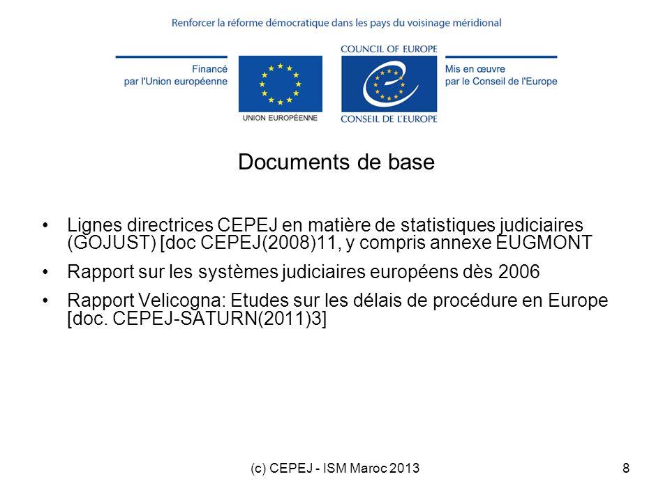 Documents de base Lignes directrices CEPEJ en matière de statistiques judiciaires (GOJUST) [doc CEPEJ(2008)11, y compris annexe EUGMONT.